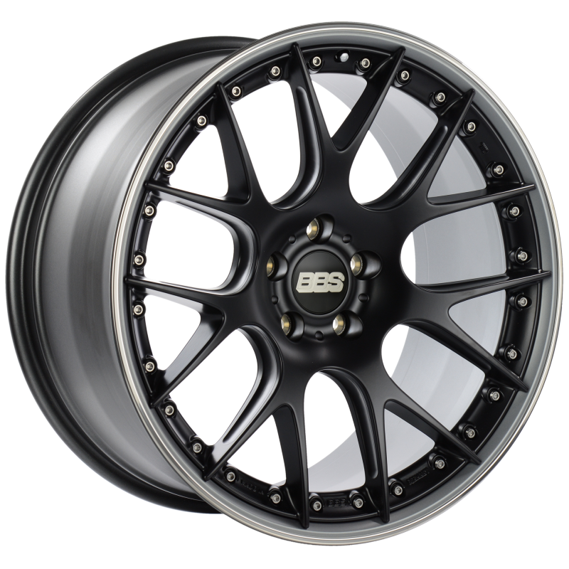 BBS CH-RII 21x10.5 5x112 ET17 Satin Black Center Platinum Lip SS Rim Prot Wheel -82mm PFS/Clip Req