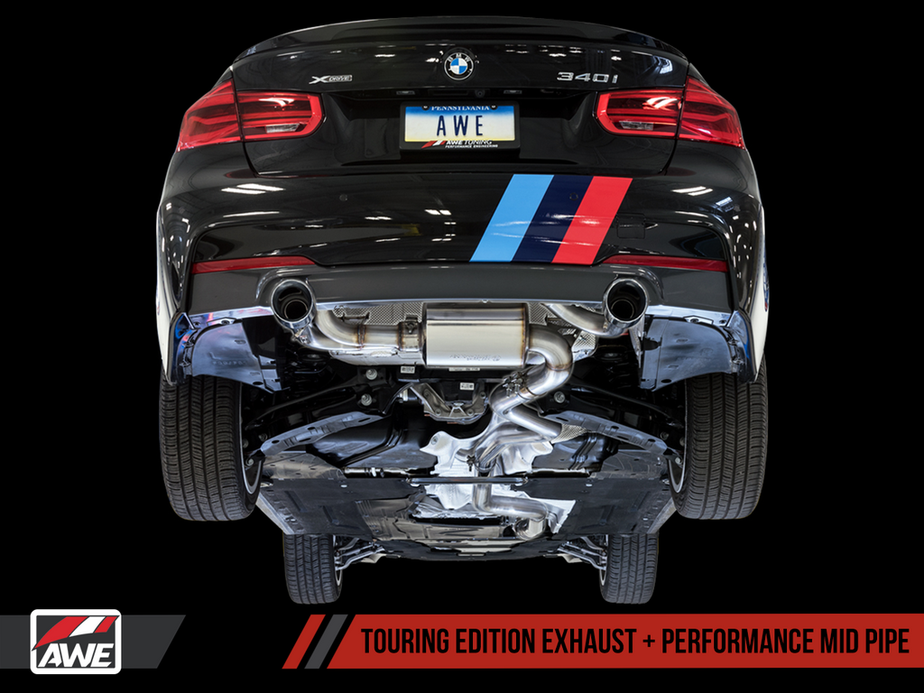 AWE Touring Edition Axle Back Exhaust for BMW F3X 340i / 440i - Diamond Black Tips (102mm)