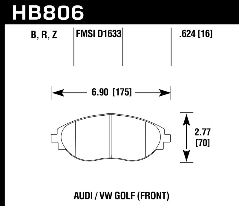 Hawk 16-17 Audi A6 Performance Ceramic Street Front Brake Pads