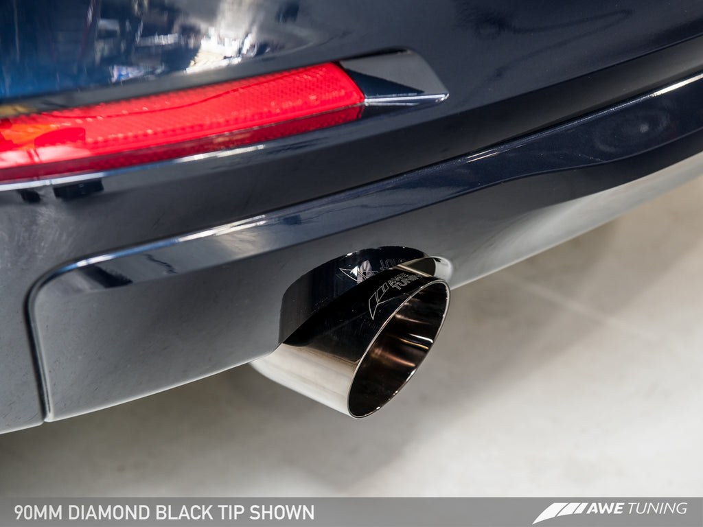 AWE Touring Edition Exhaust + Performance Mid Pipe for BMW F30 320i, Single Side - Chrome Silver Tip (90mm)