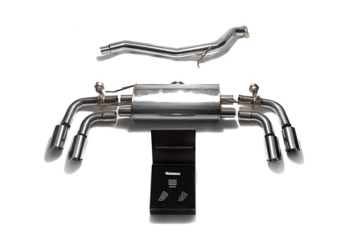 ARMYTRIX Stainless Steel Valvetronic Catback Exhaust System Quad Chrome Silver Tips Audi TT | TTS Quattro MK2 8J 07-14
