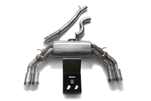 ARMYTRIX Stainless Steel Valvetronic Catback Exhaust System Quad Blue Coated Tips Audi TTS Quattro MK3 8S 2.0 TFSI 15-20