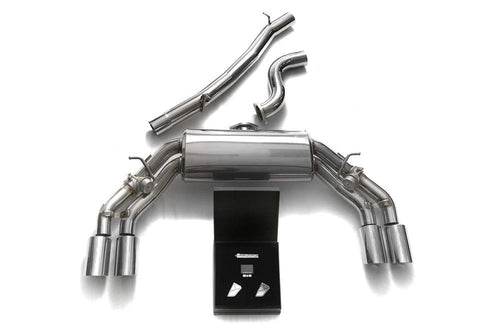 ARMYTRIX Stainless Steel Valvetronic Catback Exhaust System Quad Chrome Tips Audi TTS Quattro MK3 8S 2.0 TFSI 15-20