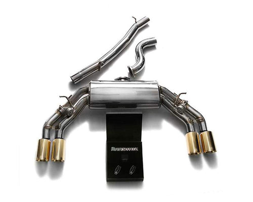 ARMYTRIX Stainless Steel Valvetronic Catback Exhaust System Quad Gold Tips Audi TTS Quattro MK3 8S 2.0 TFSI 15-20