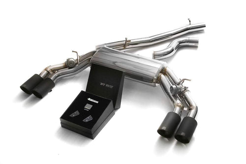 ARMYTRIX Stainless Steel Valvetronic Catback Exhaust System Quad Matte Black Tips Audi TTS Quattro MK3 8S 2.0 TFSI 15-20