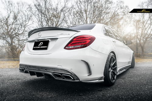 Future Design Carbon W205 / C63 AMG / AMG Sport Package Sedan 2015-ON Carbon Fiber Rear Spoiler Ver.2