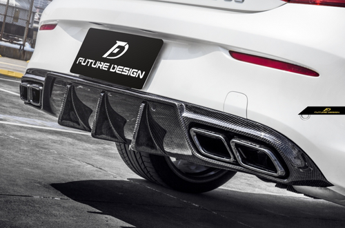 Future Design Carbon W205 AMG Package/AMG C63 C Coupe 2015-2018 Carbon Fiber Rear Diffuser Ver.2