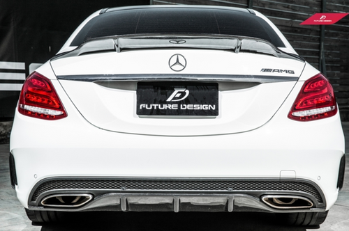Future Design Carbon W205 / C63 AMG / AMG Sport Package Sedan 2015-ON Carbon Fiber Rear Spoiler Ver.5