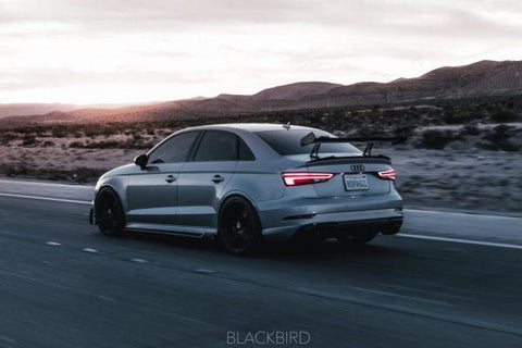 RevoZport Audi S3 RS3 2017-ON Carbon Fiber Adjustable GT Spoiler Wing