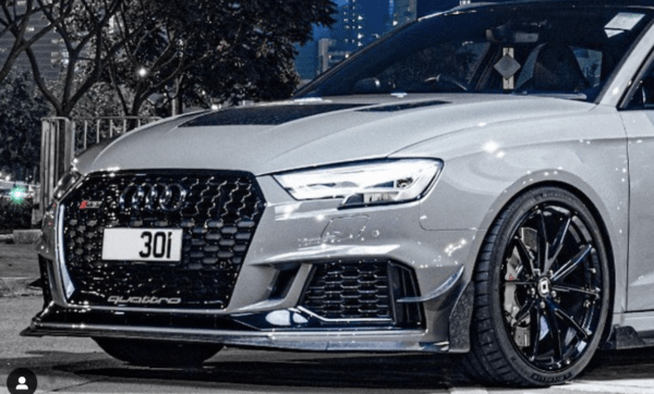 RevoZport Audi S3 RS3 2017-ON Carbon Fiber Front Lip