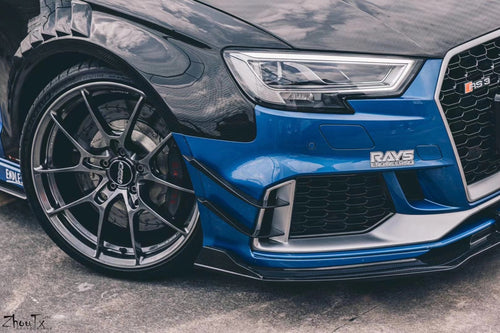 TAKD Carbon Dry Carbon Fiber Front Bumper Canards for Audi RS3 8V 2017-ON