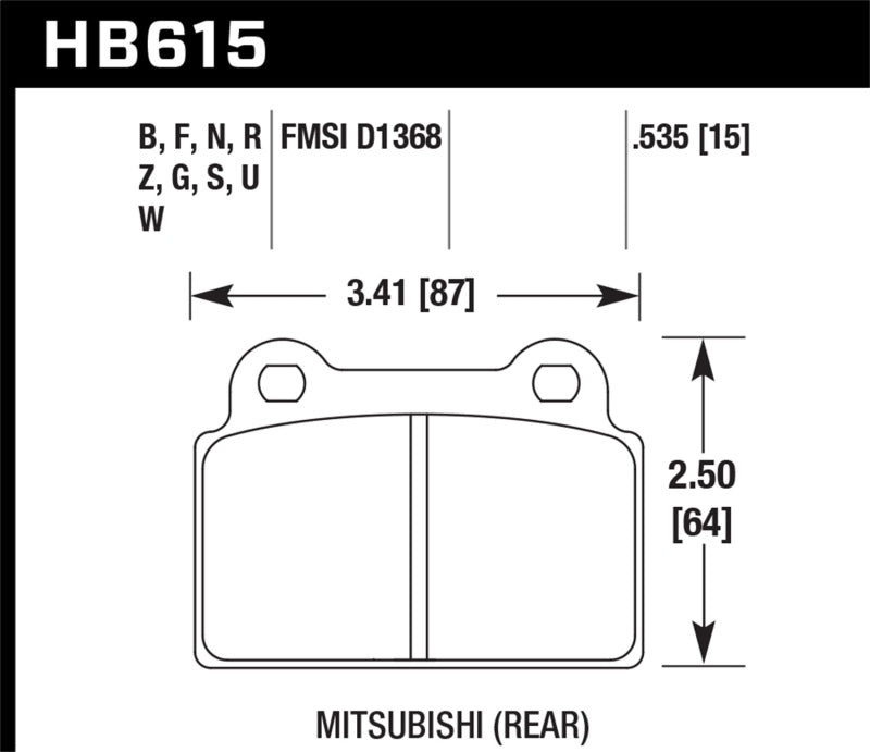 Hawk EVO X HPS Street Rear Brake Pads