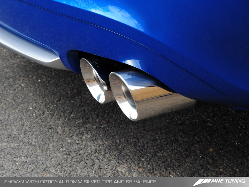 AWE Track Edition Exhaust System for B8 A5 3.2L - Quad 90mm Slash Cut Silver Tips