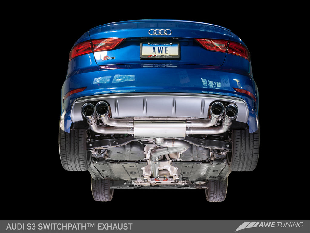 AWE SwitchPath™ Exhaust for Audi 8V S3 - Chrome Silver Tips, 90mm
