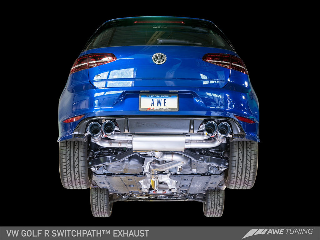 AWE Track Edition Exhaust for MK7 Golf R - Diamond Black Tips, 90mm