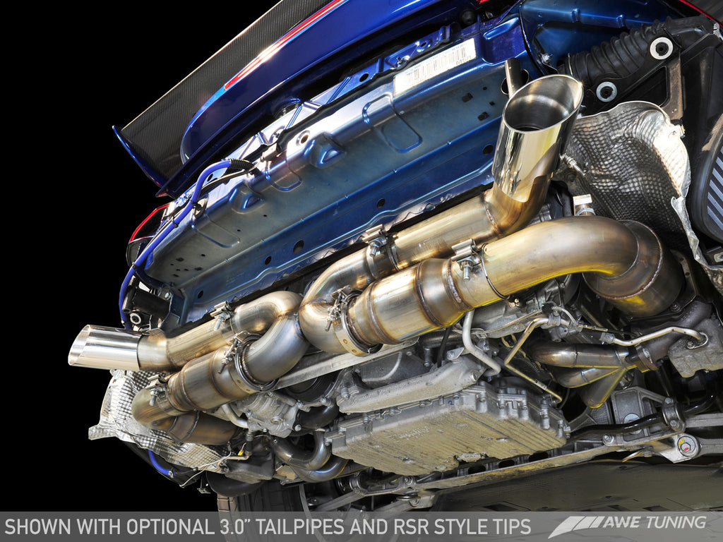 AWE Performance Exhaust for Porsche 997.2 Turbo / S - Polished Silver Quad Tips