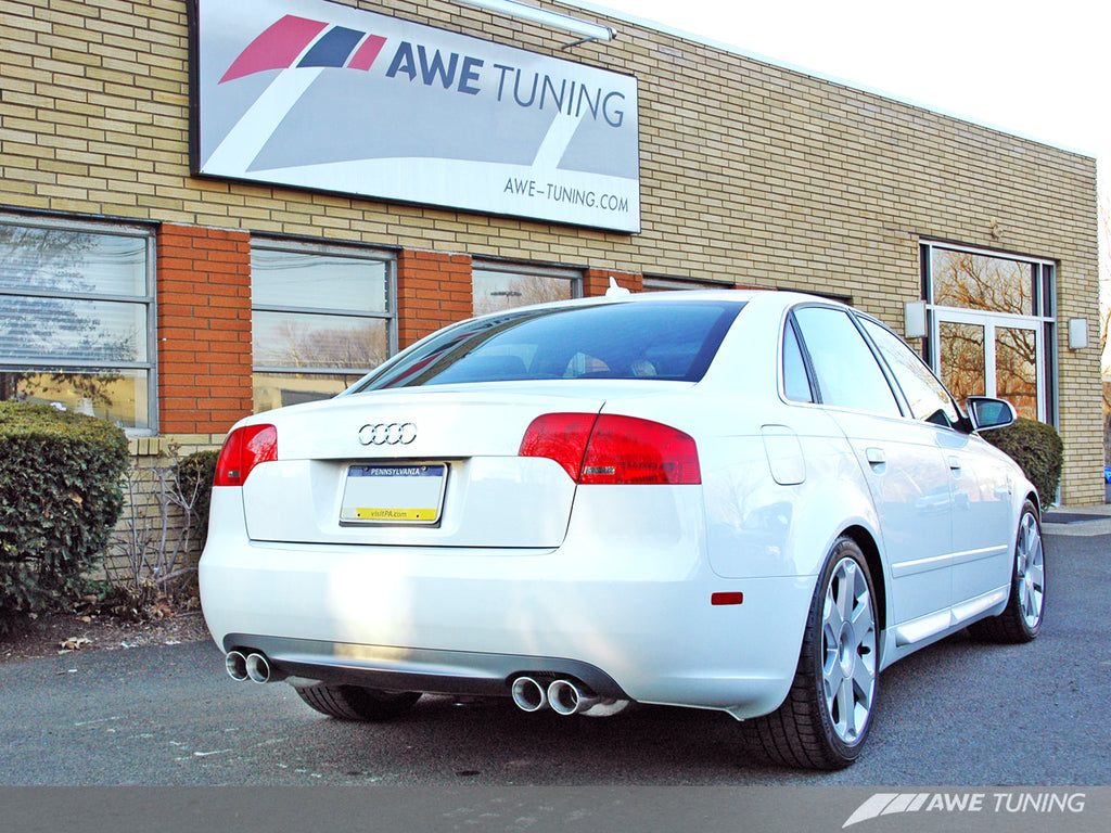 AWE Track Edition Quad Tip Exhaust for Audi B7 A4 3.2L - Diamond Black Tips