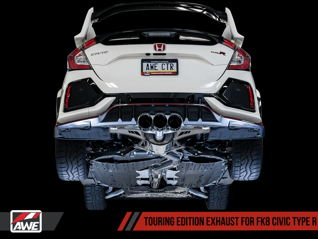 AWE Touring Edition Exhaust for FK8 Civic Type R (includes Front Pipe) - Triple Chrome Silver Tips