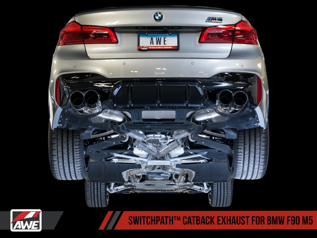 AWE SwitchPath™ Cat-Back Exhaust for BMW F90 M5 - Diamond Black Tips