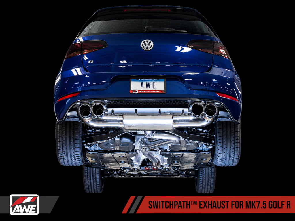 AWE SwitchPath? Exhaust for MK7.5 Golf R - Diamond Black 102mm Tips