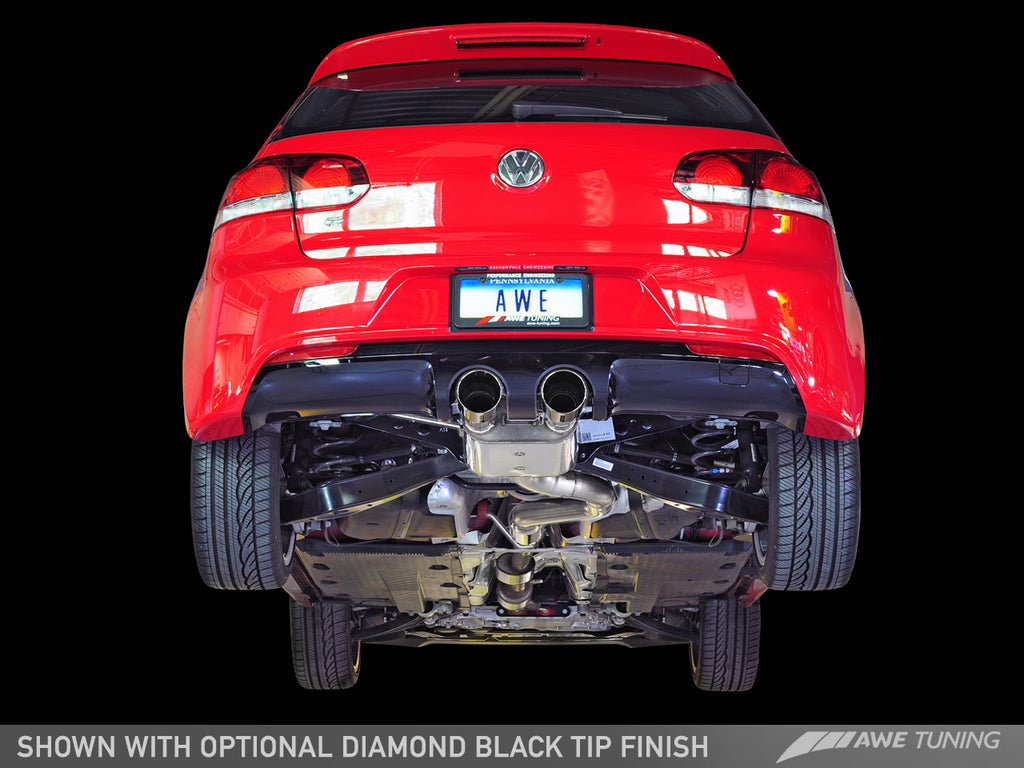 AWE Track Edition Exhaust for MK6 Golf R - Diamond Black Tips