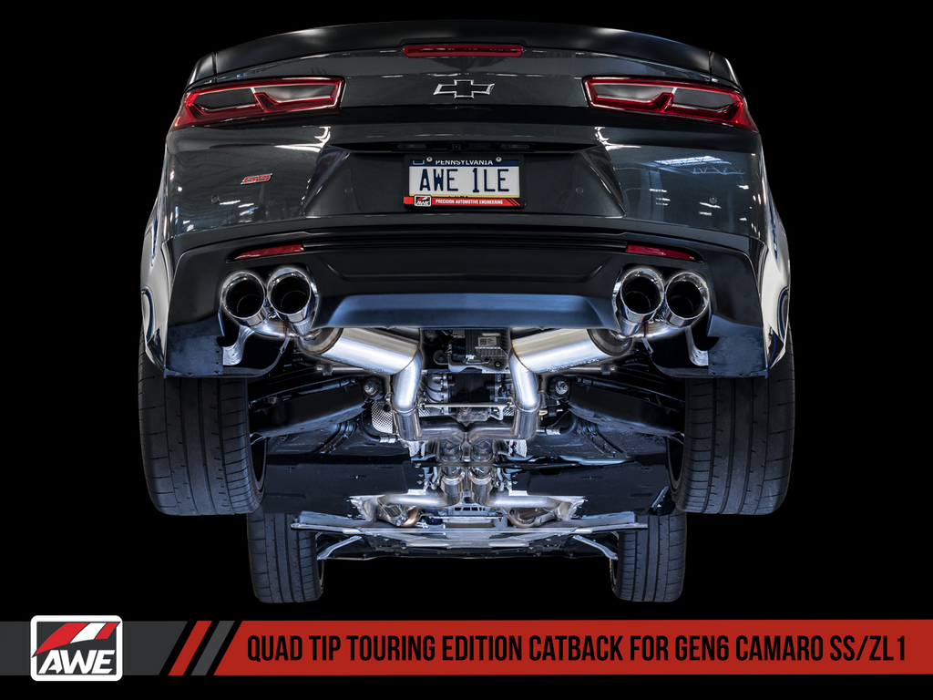 AWE Track Edition Catback Exhaust for Gen6 Camaro SS / ZL1 - Resonated - Diamond Black Tips (Quad Outlet)