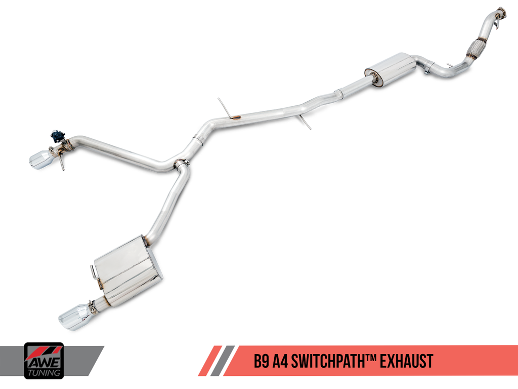 AWE SwitchPath™ Exhaust for B9 A4, Dual Outlet - Diamond Black Tips (includes DP and SwitchPath Remote)