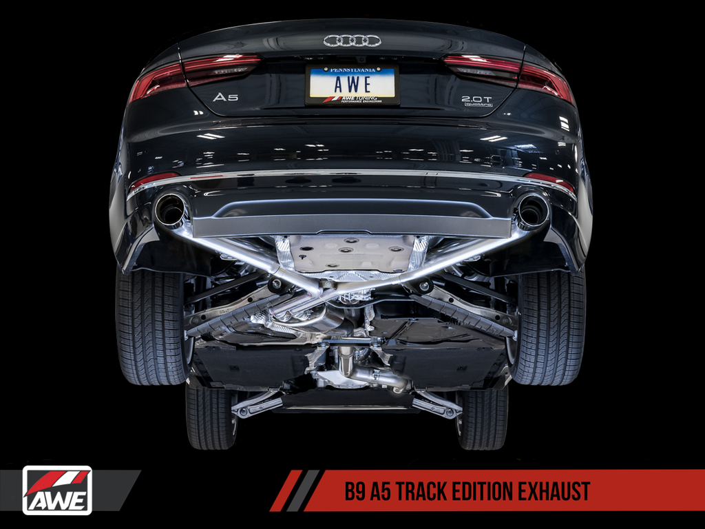 AWE Track Edition Exhaust for B9 A5, Dual Outlet - Diamond Black Tips (includes DP)
