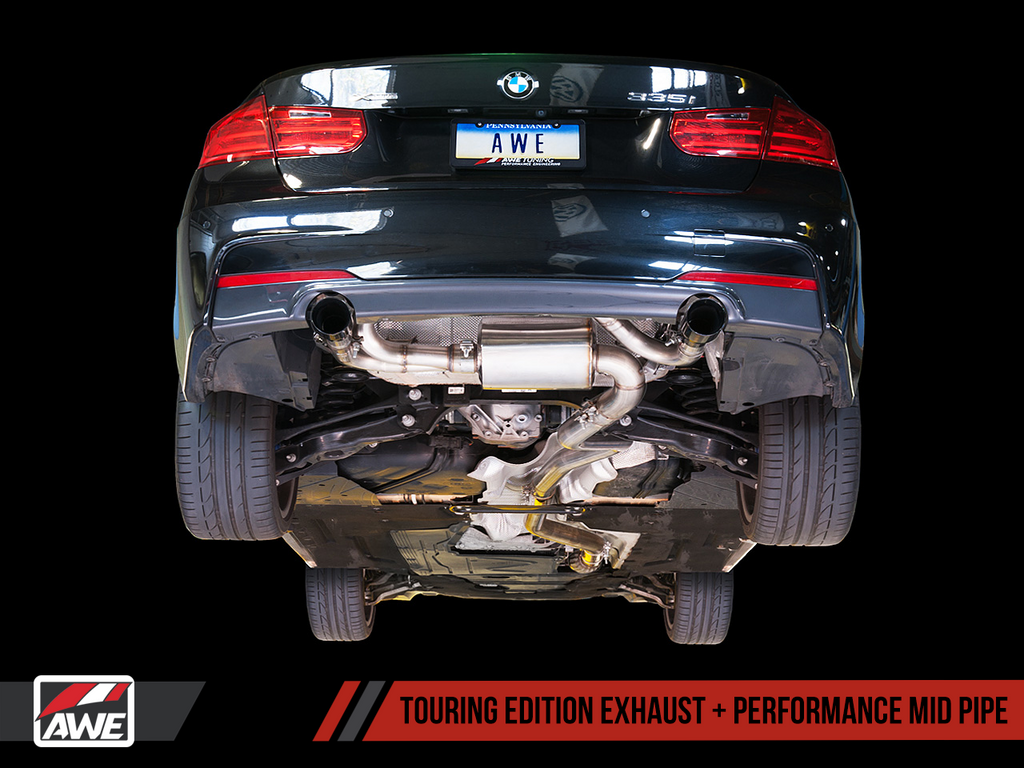 AWE Touring Edition Axle Back Exhaust for BMW F3X 335i/435i - Diamond Black Tips (90mm)
