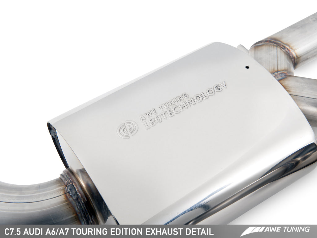 AWE Touring Edition Exhaust for Audi C7.5 A6 3.0T - Quad Outlet, Diamond Black Tips