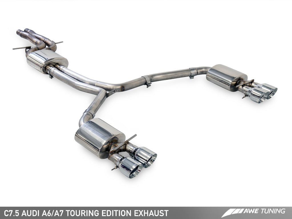 AWE Touring Edition Exhaust for Audi C7.5 A7 3.0T - Quad Outlet, Diamond Black Tips
