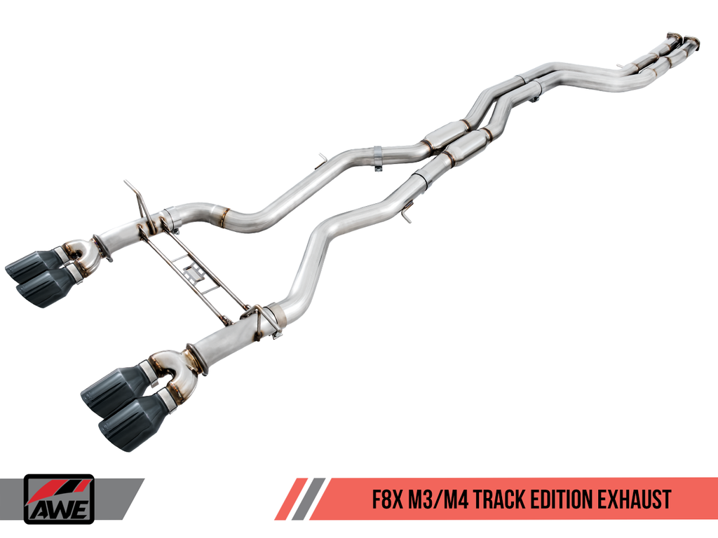 AWE Non-Resonated Track Edition Exhaust for BMW F8X M3 / M4 -- Chrome Silver Tips (102mm)