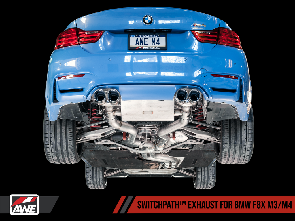 AWE Resonated SwitchPath™ Exhaust for BMW F8X M3 / M4 -- Diamond Black Tips (90mm)