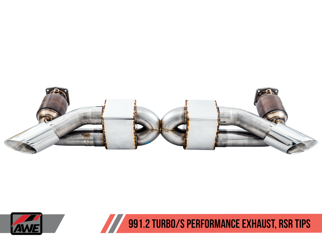 AWE Performance Exhaust and High-Flow Cat Sections for Porsche 991.2 Turbo - Stock Tips