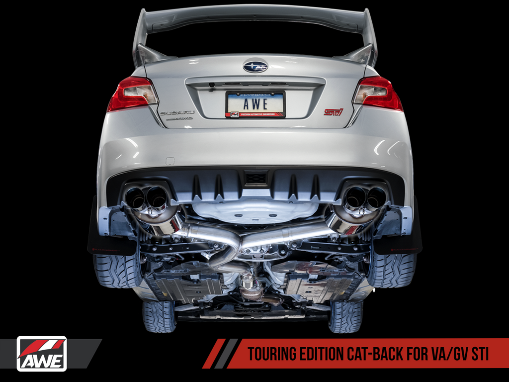 AWE Touring Edition Exhaust for VA STI / GV WRX / GV STI Sedan - Chrome Silver Quad Tips (102mm)