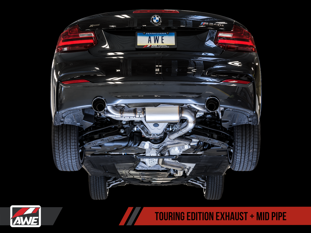 AWE Touring Edition Axle-back Exhaust for BMW F22 M235i / M240i - Diamond Black Tips (102mm)