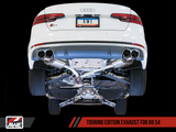 AWE Track Edition Exhaust for B9 S4 - Resonated for Performance Catalyst - Chrome Silver 102mm Tips