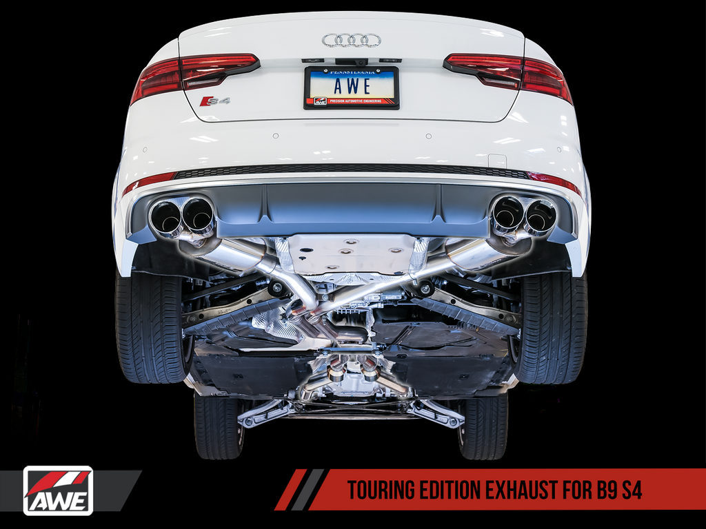 AWE Touring Edition Exhaust for B9 S4 - Resonated for Performance Catalyst - Chrome Silver 102mm Tips