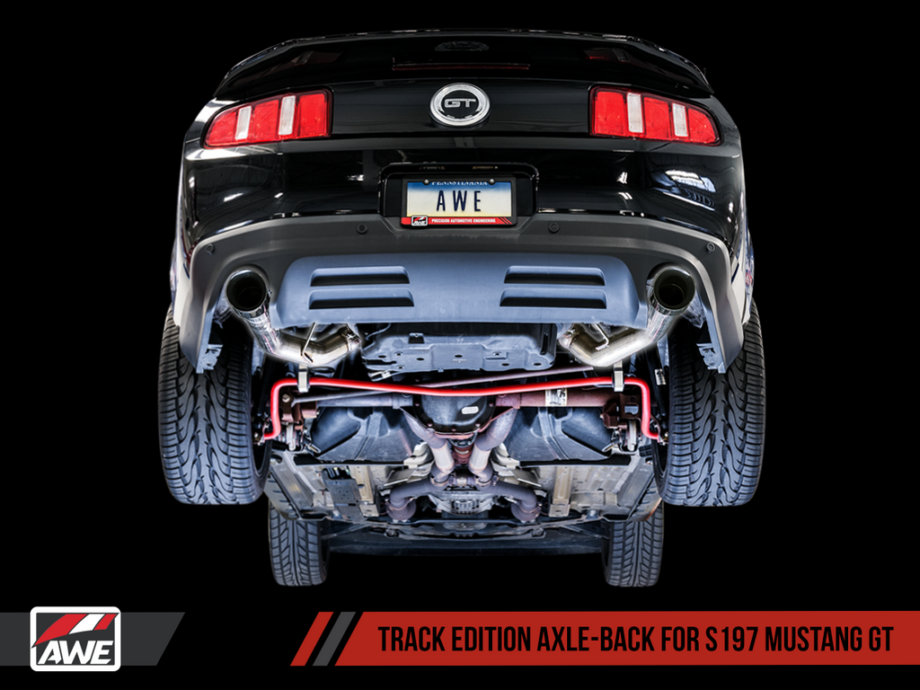 AWE Track Edition Axle-back Exhaust for the S197 Ford Mustang GT - Chrome Silver Tips