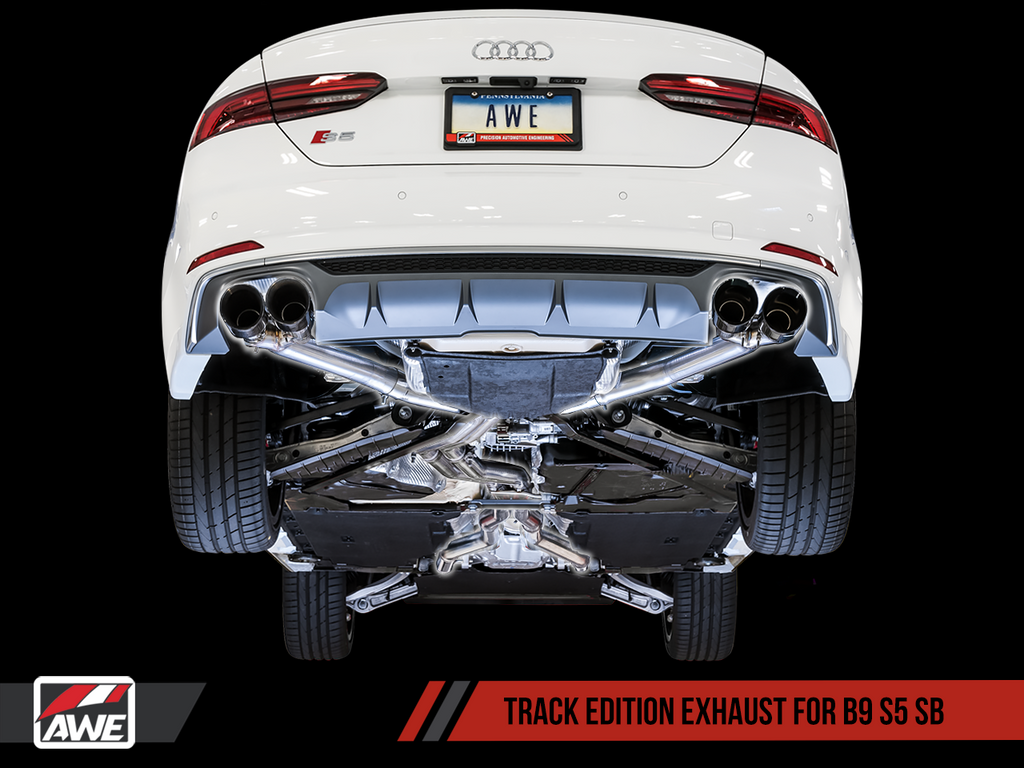 AWE SwitchPath Exhaust for B9 S5 Sportback - Resonated for Performance Catalyst - Chrome Silver 102mm Tips
