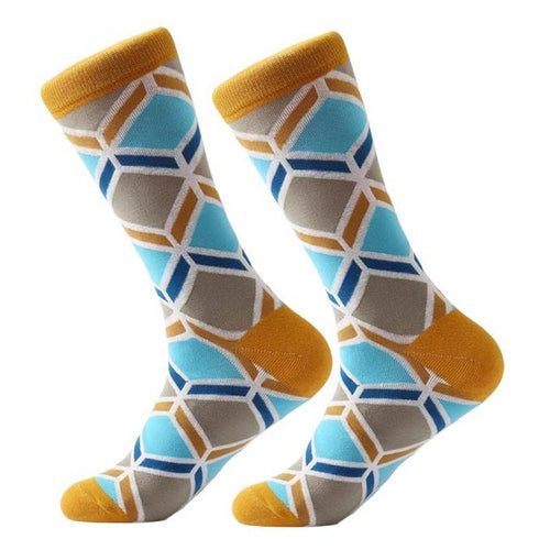 Yellow Curved Stripe Socks