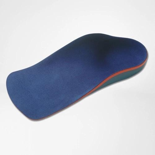 A foot insole in a colour combination of blue, orange and grey. It is considered one of Bauerfeind Australia's best recovery foot insoles, Globotec Junior.