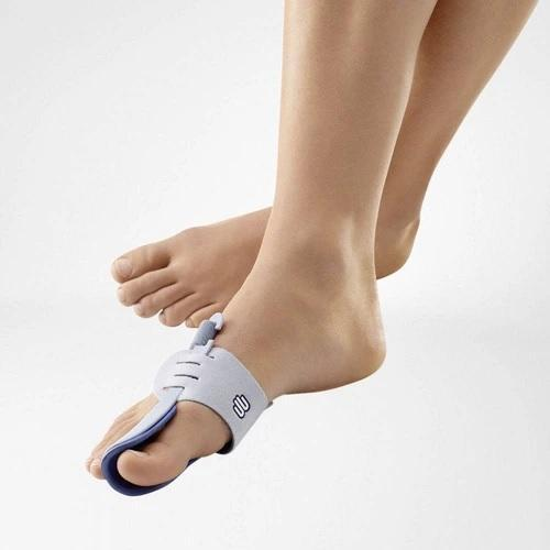 A foot splint having a colour combination of blue and grey with the logo of Bauerfeind that is consider as one of their best recovery foot splint which is named as Valguloc Bunion Splint.