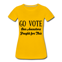 Load image into Gallery viewer, YOUR VOTE MATTERS Women's Premium T-Shirt - sun yellow
