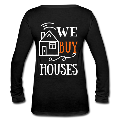 WE BUY HOUSES COLLECTION Women's Long Sleeve  V-Neck Flowy Tee - black