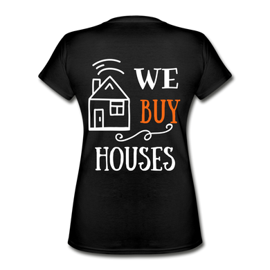 WE BUY HOUSES COLLECTION Women's V-Neck T-Shirt - black