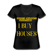 Load image into Gallery viewer, I BUY HOUSES T SHIRT Women's V-Neck T-Shirt - black