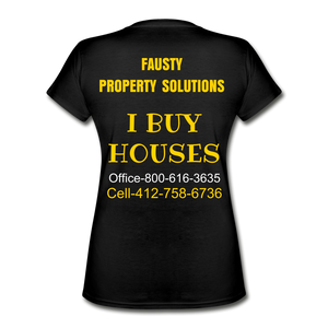 I BUY HOUSES T SHIRT Women's V-Neck T-Shirt - black