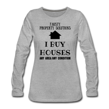 Load image into Gallery viewer, I BUY HOUSES COLLECTION Women's Premium Long Sleeve T-Shirt - heather gray