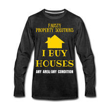 Load image into Gallery viewer, I BUY HOUSES COLLECTION Men's Premium Long Sleeve T-Shirt - charcoal gray